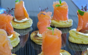 smoked salmon bilini, wedding catering, wedding caterer